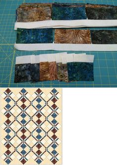 Batiki Argyle is a quilt pattern based on the easy block, Disappearing Four Patch.