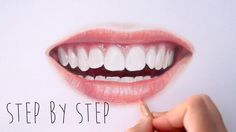 Step by Step | How to draw color realistic lips and teeth with colored p...