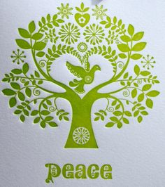 "Fluid Ink Fine Letterpress of Australia  : Letterpress Christmas Card Scandinavian Folk Style Green Tree of Life ""Peace"""
