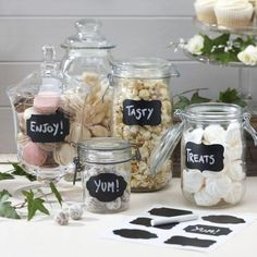 Perfect for a rustic wedding candy buffet - chalkboard jar labels Chalkboard Stickers, Chalkboard Labels, Chalkboard Wedding, Blackboard Chalk, Kitchen Chalkboard, Vintage Chalkboard, Label Stickers, Black Chalkboard, Rustic Wedding Favors