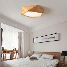 modern wood living room lamp led Japanese solid wood lamp Nordic log geometric ceiling lamps Bedroom simple