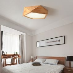 Madera moderna sala de estar de la lámpara led japonés lámparas de techo dormitorio lámpara de madera maciza registro nordic geométrica simple