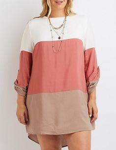Plus Size Color Block Shift Dress #charlotterusseplus