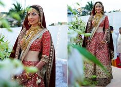 A light red lehenga covered in red & gold sequence & embellishments with a maroon border and two dupattas for Bride Prachi Jogani of WeddingSutra. Photos Courtesy- Jodi Clickers: Wedding Photography