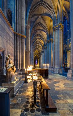 Cathédrale de Reims, France. I lit a candle here for a friend who was dying of cancer.  An amazing cathedral