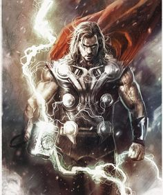 Thor from Marvel Comics universe, done by artist Rudy Nurdiawan Avengers Poster, Marvel Avengers Comics, Marvel Comic Universe, Marvel Art, Marvel Heroes, Comics Universe, Marvel Tattoos, Thor Drawing, Thor Tattoo