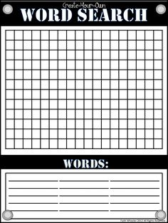 FREE Word Search Template~ Students create their own word searches to trade and practice!