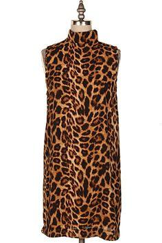 LEOPARD PRINT HIGH NECK DRESS W/ BACK ZIPPER DETAIL.  #12Q-2946D
