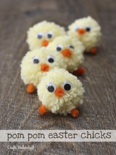Pom Pom Easter Chicks- 18 Cute Easter Crafts You Can Make with Your Kids