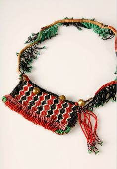 Zulu girls' front apron with fringed belt, South Africa African Beads, African Jewelry, Ethnic Jewelry, African Accessories, Handmade Accessories, Handcrafted Jewelry, Beaded Choker, Beaded Jewelry, Jewellery