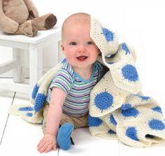Red Heart® Designer Sport™ Polka-Dot Baby Blanket  #crochet #pattern