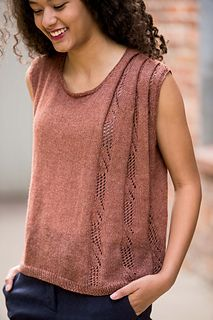 """Folded Lace Tank FINISHED SIZE 37 1/4 (41 1/2, 44 1/4, 48 1/2, 52, 54 3/4)"""" bust circumference. Tank shown measures 41 1/2"""", modeled with 7 1/2"""" of positive ease.  YARN Manos del Uruguay Serena (60% alpaca, 40% pima cotton; 170 yd 155 m/1 3/4 oz 50 g): mahogany, 4 (4, 5, 5, 5, 6) skeins  NEEDLES Size 6 (4 mm): 16"""" and 32"""" circulars (cir), and two double-pointed (dpn). Adjust needle size if necessary to obtain the correct gauge."""