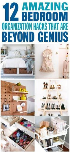 These are the BEST bedroom organization ideas I have ever seen! Glad to have found these amazing organization of bedroom hacks and ideas for the home. Definitely pinning for later! - Home Design Organisation Hacks, Bedroom Organization Diy, Bedroom Hacks, Home Bedroom, Bedroom Ideas, Master Bedroom, Home Design, Bedroom Decorating Tips, Decorating Ideas