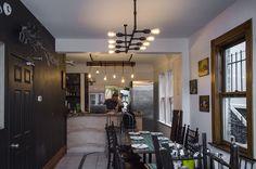 The Finished dining space Chandelier, Restaurant, Ceiling Lights, Vegan, Dining, Interior Design, Space, Home Decor, Twist Restaurant