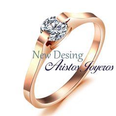 Nuevo diseño de anillo solitario en oro rosado y diamante #Elegancia #Diseño #Color #Moda #Compromiso