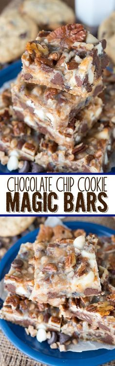 Chip Cookie Magic Bars This EASY Chocolate Chip Cookie Magic Bars recipe comes together in just minutes!This EASY Chocolate Chip Cookie Magic Bars recipe comes together in just minutes! 13 Desserts, Cookie Desserts, Cookie Recipes, Delicious Desserts, Dessert Recipes, Yummy Food, Bar Recipes, Sukkot Recipes, Recipies