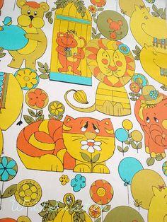 60s Psychedelic CIRCUS Animals MOD Vintage Kids Wallpaper Juvenil Children