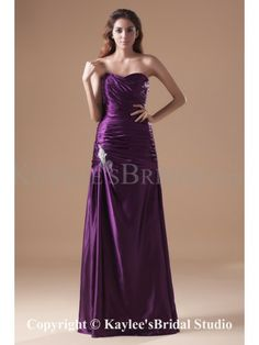 Taffeta Sweetheart Floor Length A-line Ruched Prom Dress