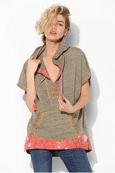 DIY Rachel Neon Embroidered Poncho Hoodie Sweatshirt