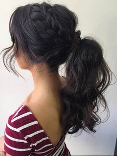 Braid to a High Curly Ponytail Prom Hair . Braid to a High Curly Ponytail Prom Hair www. High Curly Ponytail, Sporty Ponytail, Fancy Ponytail, Braids For Long Hair, Braided Ponytail, Fishtail Braids, Ponytail For Prom, Formal Ponytail, Ponytail Ideas