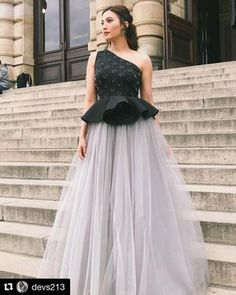 Gauhar Khan wearing peplum tulle gown from our latest collection Circle of life .- Khan wearing peplum tulle gown from our latest collection Circle of life ! Indian Fashion Dresses, Indian Gowns Dresses, Dress Indian Style, Indian Designer Outfits, Fancy Wedding Dresses, Indian Wedding Gowns, Designer Party Wear Dresses, Best Designer Dresses, Designer Gowns