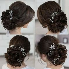 This wedding hairstyles updo really are beautiful Quince Hairstyles, Wedding Hairstyles For Long Hair, Bride Hairstyles, Curly Hairstyle, Short Hair, Bridal Hairdo, Bridal Hair Pins, Bridal Hair And Makeup, Medium Hair Styles
