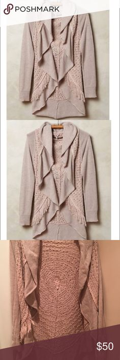 Anthropologie Knitted and Knotted Fringe Cardigan Anthropologie's Knitted and Knotted lilac circle cardigan! Only worn once! $50 Anthropologie Sweaters