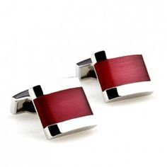 The Crimson Framed Stainless is perfect for the romantic man. These scarlet cufflinks add a touch of rich red to your favorite French cuff shirt. | How To Wear Cufflinks  #howmendress #menswear #mensfashion