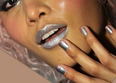 Betsey Johnson's Femmebot Manis: How To DIY Metallic Silver + Pink Glitter Nail Art Pink Glitter Nails, Metallic Nails, Fun Nails, Nice Nails, Betsey Johnson, Makeup, Silver, Diy, Beauty