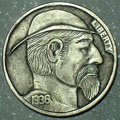 DAVID JONES HOBO NICKEL - 1936 BUFFALO PROFILE Hobo Nickel, David Jones, Buffalo, Cactus, Coins, Carving, Profile, Artist, User Profile