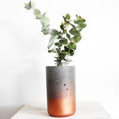 Concrete Copper Vase Handmade & Painted Copper colour concrete + glass vase urban housewares kitchen vessel