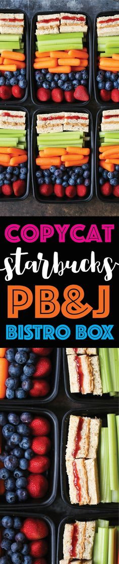 Copycat Starbucks PB&J Bistro Box - Save money and make your own meal prep boxes with everyone's favorite peanut butter and jelly whole wheat sandwiches! Vegan School Lunch Ideas For Kids, Vegan School Lunches, Work Lunches, Vegetarian Lunch Ideas For Work, Kids Meal Ideas, Travel Lunches, Food Travel, Prepped Lunches, School Snacks