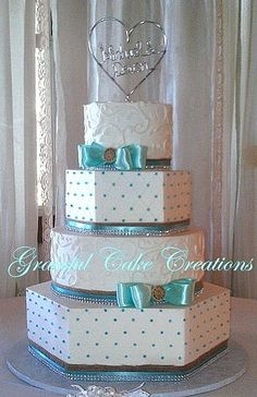 Country Chic Tiffany Blue and White Wedding Cake with Burl… | Flickr #TiffanyBlueWeddings