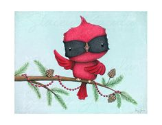 art print cardinal bird red christmas winter von staceyyacula