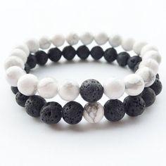 Lava Stone 2 Pcs / Set Black and White Bracelet