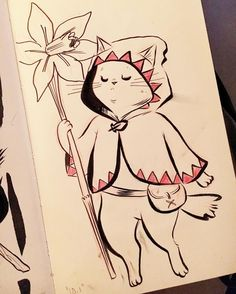 regram @emibot White mage kitty drawn with the leakiest pen