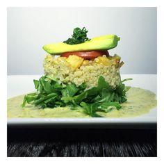 Simple Summer Salads. | wild baby arugula, quinoa, coco garlic rutabaga, roma tomato, avocado, dressed with a caraway/pistachio citronette. Garnished with opal basil. | #farmtotable #summer #salad #inspirations #eatclean #eatsimple #vegan #organic #nyc
