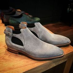 Handmade Mens Gray genuine suede jodhpurs boot, Men monk strap low ankle boot - Boots
