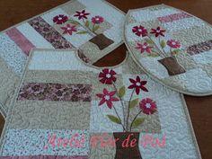 Jogo Banheiro patchwork ateliê flor de poá