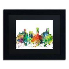 "Trademark Art ""Denver Colorado Skyline SP"" by Marlene Watson Framed Graphic Art"