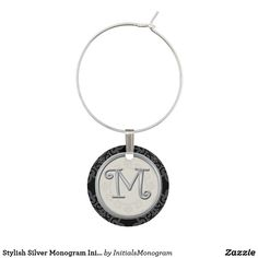 Stylish Silver Monogram Initial M Wine Glass Charm
