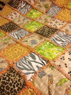 Rag quilt made with animal print flannel