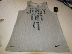 Nike DRI FIT Cotton Stay Cool Tank Top shirt Men's active 658528 grey 063 L lg #Nike #tanktop