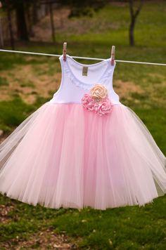 Rose Cluster Shabby Chic Flower Girl Wedding Birthday Tutu Dress Infant Toddlers Girls. $54.00, via Etsy.
