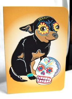 Muertos Chihuahua greeting Card by AfricanGrey,  Etsy