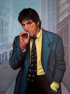 Al Pacino - realistic acrylic painting by the Dutch fine artist Paul Meijering - The Original painting is 120 x 90 cm and for sale