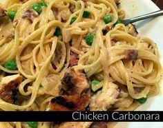 Chicken Carbonara - Grilled chicken makes this so delicious.