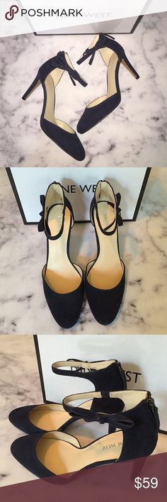 "Flash SaleNine West Navy Suede Ankle Bow Heels beautiful new with box navy suede heels from Nine West. feature bow detailing on ankle and back zip. size 9M. leather upper with manmade sole. heel height is approx 3.5"". 6K2653. **price firm unless bundled** Nine West Shoes Heels"