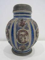 Antique Westerwald melon jug stoneware Bellarmine 17th century