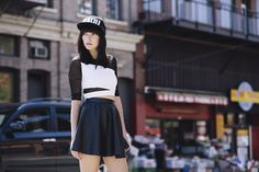 S.P.Badu Leather Cap, Topshop Crop Top, H Leather Skirt